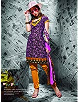 Cotton Printed Purple & Black Chudidar Suit - BOM1001