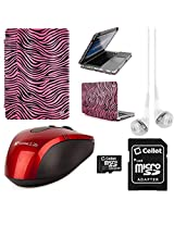 VangoddyTM Faux Leather Book Style Folio Protective Cover for Apple Macbook Pro 13.3-inch Laptops + White VanGoddy Headphones + Red USB Wireless Mouse + 16GB Memory Card (Pink Zebra)