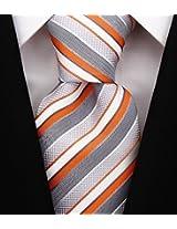 Scott Allan Men's Striped Tie - Orange/Gray