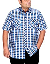 Xmex Men's Cotton Regular Fit Shirt (KR-244BLUE-5XL)