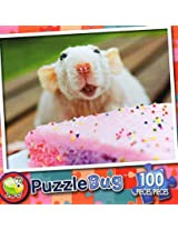 Puzzle Bug 100 Piece Puzzle ~ Little Mouse Eating Cake
