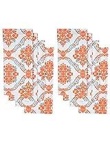 Elite Home Damask Printed Kitchen Towel, Set of 8 - Orange