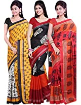 Combo Of 3 Multicolor Printed Saree Ishin