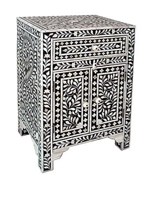 Mili Designs 1 Drawer 2 Doors Bone Inlay Bedside, Black/Cream