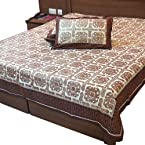 Little India Jaipuri Designer Gold Print Cotton Double Bed Cover with 2 Pillow Covers - Multicolor
