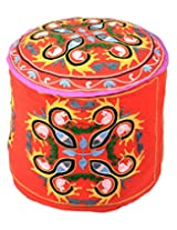 Traditional Ottoman Red Cotton Embroidered Floral Pouf Cover By Rajrang