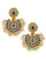Scores of Chandni Pearls with Kundan & Charming Stone Indian ADIVA EarringSAEA0949BL