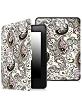 Fintie Kindle Paperwhite SmartShell Case - The Thinnest and Lightest Leather Cover for All-New Amazon Kindle Paperwhite (Fits All versions: 2012, 2013, 2014 and 2015 New 300 PPI), Paisley Waves