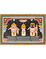 Exotic India Shringara of Jagannatha-I - Paata Painting on Patti - Folk Art from the Temple Town of
