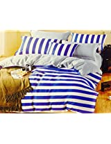 CnS BLUE & WHITE STRIPE BEDSHEET WITH PILLOW COVERS, KING SIZE , 100% COTTON
