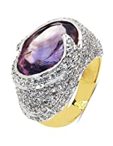 10.60 Grams Amethyst & White Cubic Zirconia Gold Plated Brass Ring