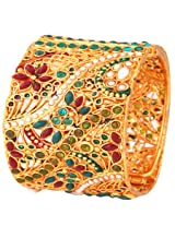 Megh Craft Women's Designer One Gram Gold Plated Polki Bracelet
