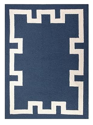 Peking Handicraft Simple Greek Key Rug, Blue
