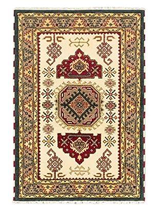 Hand-Knotted Royal Kazak Rug, Cream, 4' 1