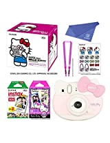 "Fujifilm Instax Mini ""Hello Kitty"" Instant Camera Set! with Instax Mini Film, Twin Pack (20 Shoots) + Hello Kitty Film (10 Shoots) + Shoulder Strap + Stickers + withC Microfiber Cleaning Cloth"