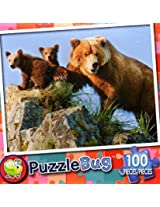 Puzzle Bug 100 Piece Puzzle ~ Grizzly Bear Mother And Cubs