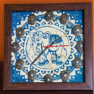 Footprints Forever Blue Elephant Clock