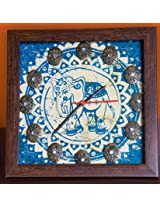Footprints Forever Blue Elephant Clock