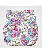 Bumberry Pocket Style Cloth Diaper (Violet Print) + One Microfiber Insert