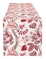 Elegant Hand Block Printed Cotton Table Runner White Floral By Rajrang