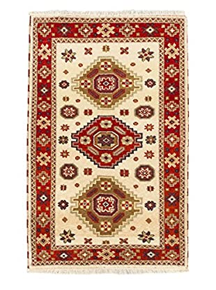 Hand-Knotted Royal Kazak Rug, Cream/Light Red, 3' 2