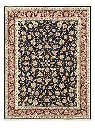 Hand-Knotted Sino Persian Wool & Silk Rug, Navy/Dark Red, 9' x 11' 8