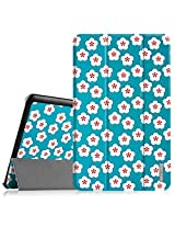 Fintie Samsung Galaxy Tab E 9.6 Case - Ultra Slim Lightweight Stand Cover for Samsung Tab E Wi-Fi / Tab E Nook / Tab E Verizon 9.6-Inch (Fit All Versions SM-T560 / T561 / T565 / T567V), Floral Blue