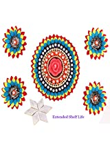 Ghasitaram Gifts - Set of 5 T-Light Multicolor Floaters Set with 400 gms Kaju Katli