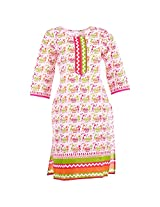 Karni Women's Cotton Off-White & Pink Kurti