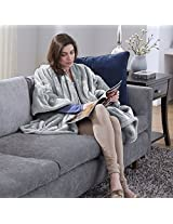 Serta Snuggler Electric Heated Cape/Throw Blanket, Grey