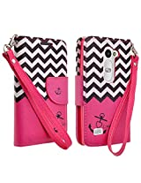 LG Leon LTE / LG Tribute 2 / LG Power / LG Risio / LG Sunset / LG Destiny Case, Hot Pink Anchor Design Leather Folio Wallet Flip Book Case Cover With Kickstand