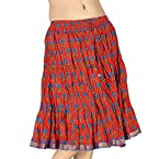Little India Hand Block Print Sanganeri Cotton Mini Skirt - DLI3SKT194 (Red)