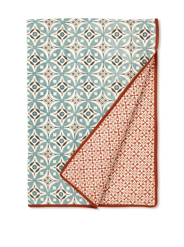 Handmade Interiors Elmas & Nila Hand Screened Printed Cotton Quilted Throw (Duck Egg Blue/Chocolate/Rust)