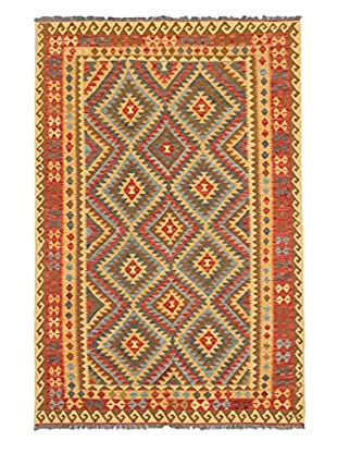 Hand Woven Hereke Wool Kilim, Light Gold/Light Red, 6' 5