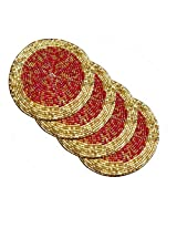 AsiaCraft Red & Gold Décor Indian Handmade Beaded Coffee, Tea Coaster 4.2 Inches Set of 4