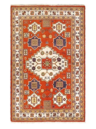 Hand-Knotted Royal Kazak Rug, Dark Orange, 6' 6