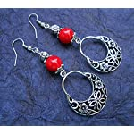 CHILLY RED AND GERMAN SILVER LONG DANGLERS