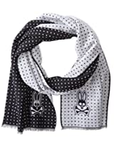 Psycho Bunny Men's Polka Dot Reversible Scarf, Black, One Size