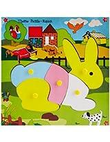 Skillofun Wooden Theme Puzzle Standard Rabbit Knobs, Multi Color