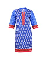 Karni Women's Cotton Blue Kurti