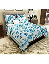 Home Candy 144 TC Floral Cotton Double Bedsheet with 2 Pillow Covers - Blue (CTN-BST-339)