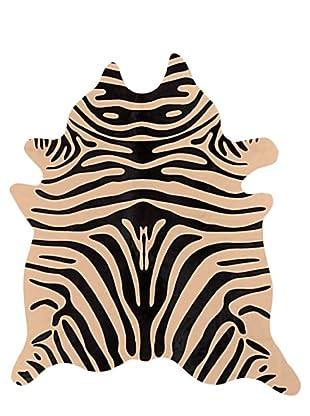 Natural Brand Togo Cowhide Rug, Zebra Black/Tan, 6' x 7'