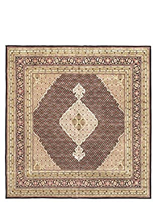 Hand-Knotted Tabriz Haj Jalili Wool & Silk Rug, Brown, 8' x 8' 3
