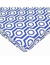 American Baby Company 100% Cotton Percale Fitted Portable/Mini Crib Sheet, Royal Hexagon By American Baby Company