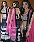 Agarwal Fashion Bollywood Replica Manish malhotra Designer Alia Bhatt Black pink Net Lehnga