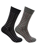 Bonjour Woolen Thin multicolour 2 Pair Men's Socks_BRO9239 (Black-Anthra)