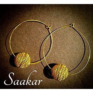Saakar Ball Beaded Cutwork Hoops Earrings