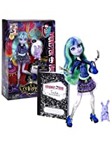 "Mattel Year 2012 Monster High ""13 Wishes"" Series 11 Inch Doll Set Twyla ""Daughter Of The Boogey Man"" With Pet Bunny ""Dustin"", Diary, Hairbrush, Purse And Display Stand"