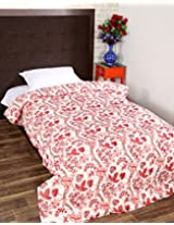 Gorgeous Hand Block Printed Cotton Quilt Single White Floral By Rajrang