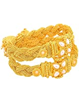 JFL- Ethnic Braided Designer One Gram Gold Plated Openable Kada for Girls and Women